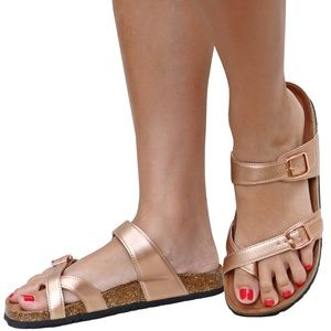 NIB Rose Gold Adjustable Strap Cork Slide Sandals